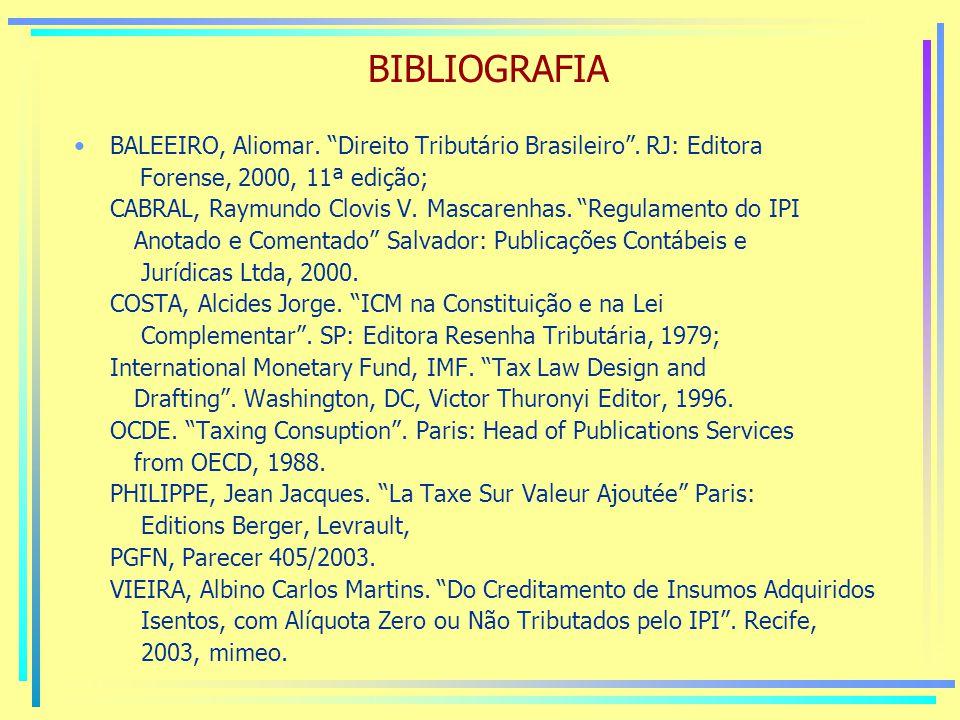 BIBLIOGRAFIA BALEEIRO, Aliomar. Direito Tributário Brasileiro . RJ: Editora. Forense, 2000, 11ª edição;