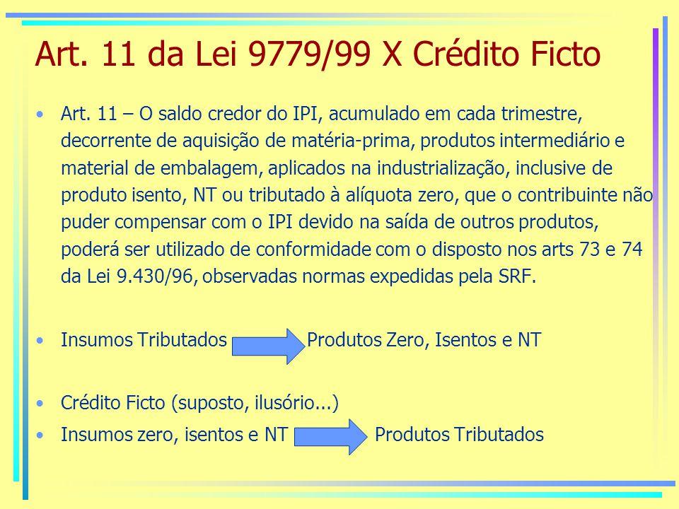 Art. 11 da Lei 9779/99 X Crédito Ficto