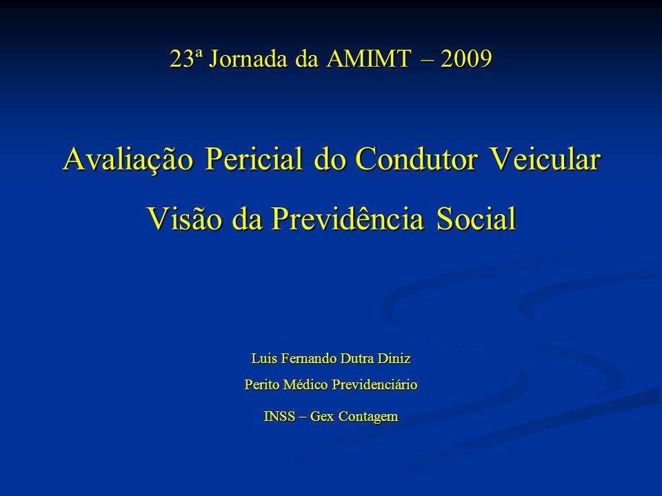 23ª Jornada da AMIMT – 2009 Avaliação Pericial do Condutor Veicular Visão da Previdência Social Luis Fernando Dutra Diniz Perito Médico Previdenciário INSS – Gex Contagem