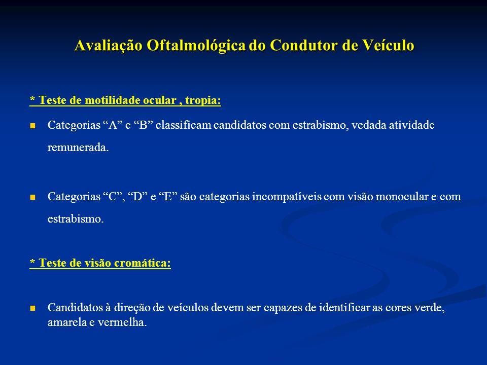 Avaliação Oftalmológica do Condutor de Veículo