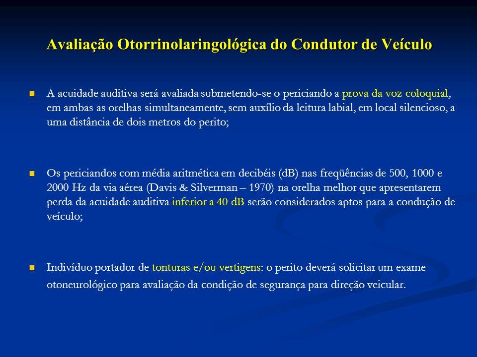 Avaliação Otorrinolaringológica do Condutor de Veículo