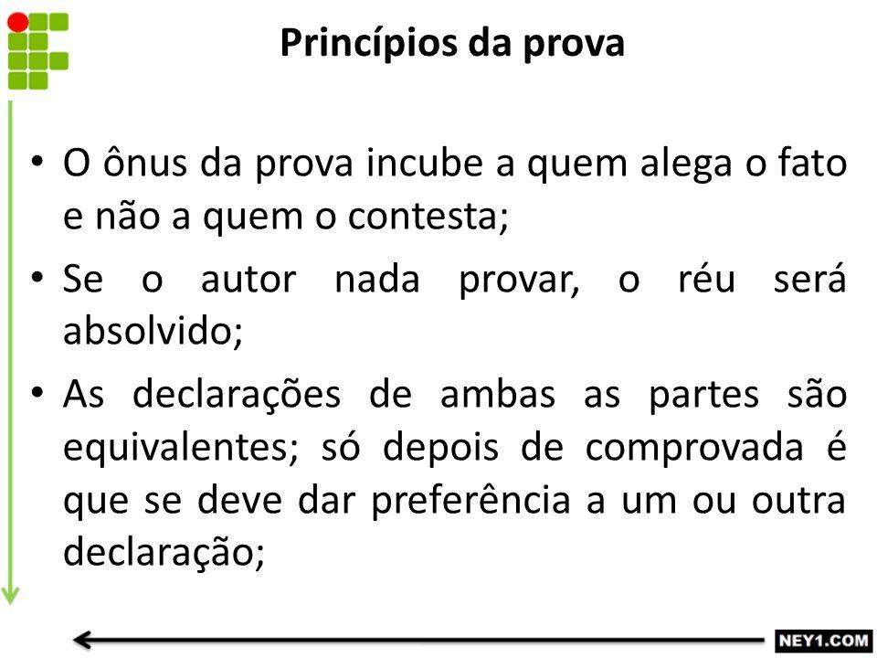 Princípios da prova O ônus da prova incube a quem alega o fato e não a quem o contesta; Se o autor nada provar, o réu será absolvido;