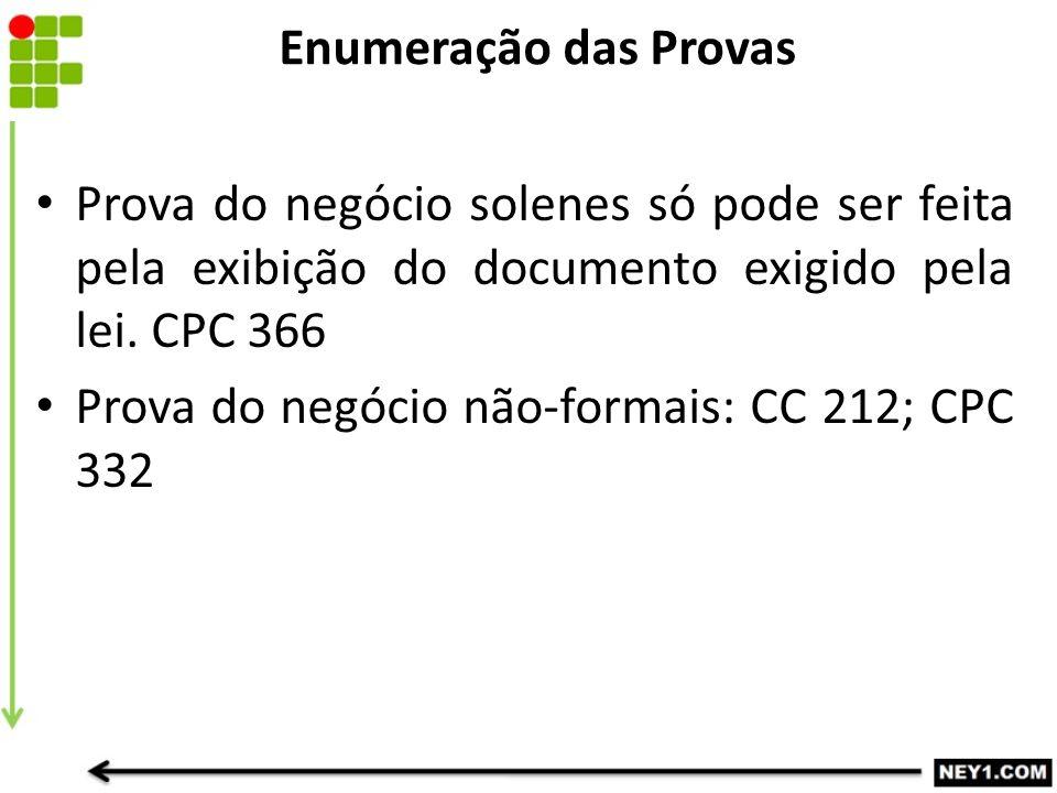Enumeração das Provas Prova do negócio solenes só pode ser feita pela exibição do documento exigido pela lei. CPC 366.