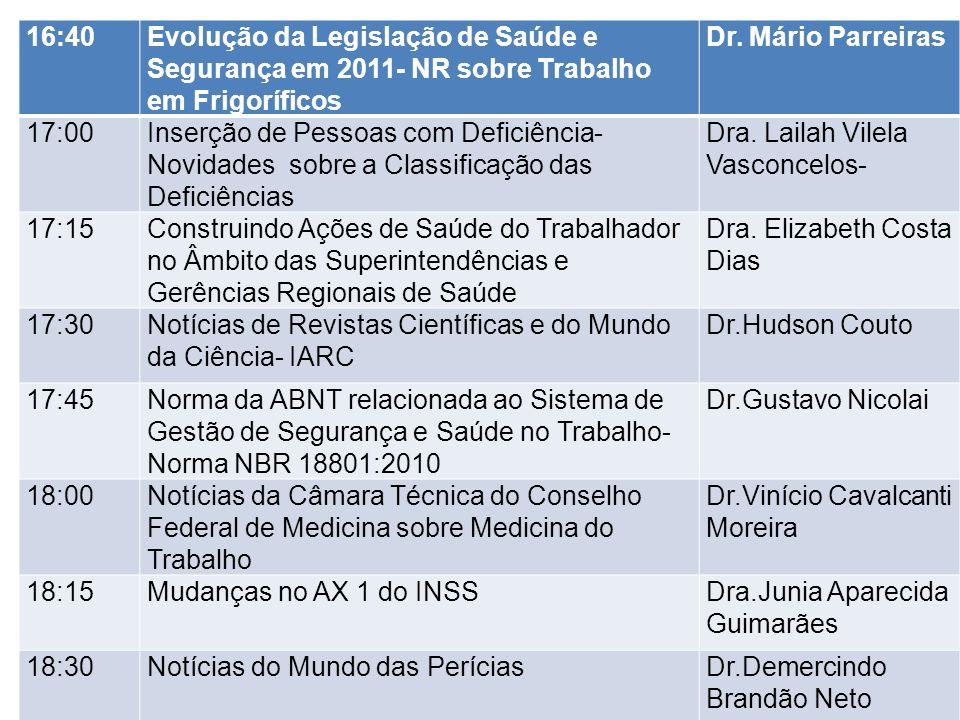 16:40 Evolução da Legislação de Saúde e Segurança em 2011- NR sobre Trabalho em Frigoríficos. Dr. Mário Parreiras.
