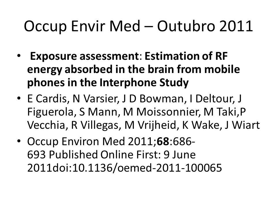 Occup Envir Med – Outubro 2011