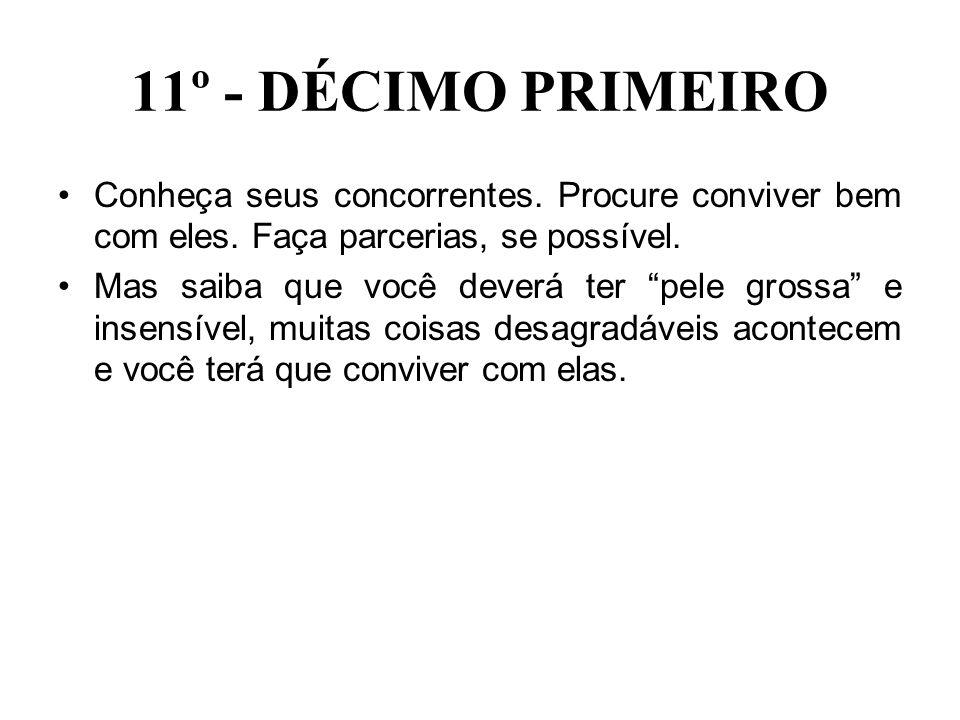 11º - DÉCIMO PRIMEIRO Conheça seus concorrentes. Procure conviver bem com eles. Faça parcerias, se possível.