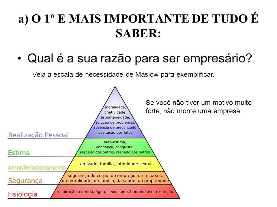 a) O 1º E MAIS IMPORTANTE DE TUDO É SABER: