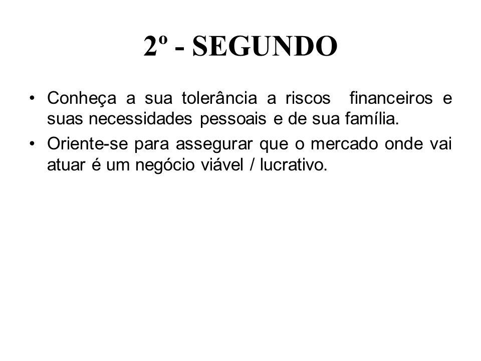2º - SEGUNDOConheça a sua tolerância a riscos financeiros e suas necessidades pessoais e de sua família.