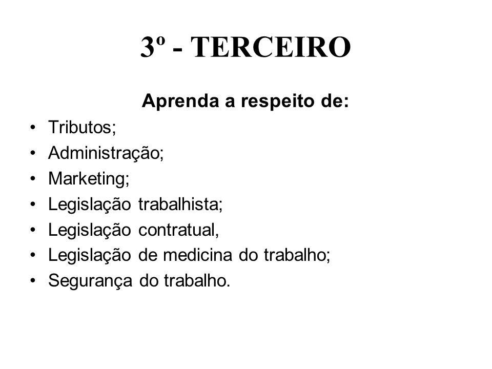 3º - TERCEIRO Aprenda a respeito de: Tributos; Administração;