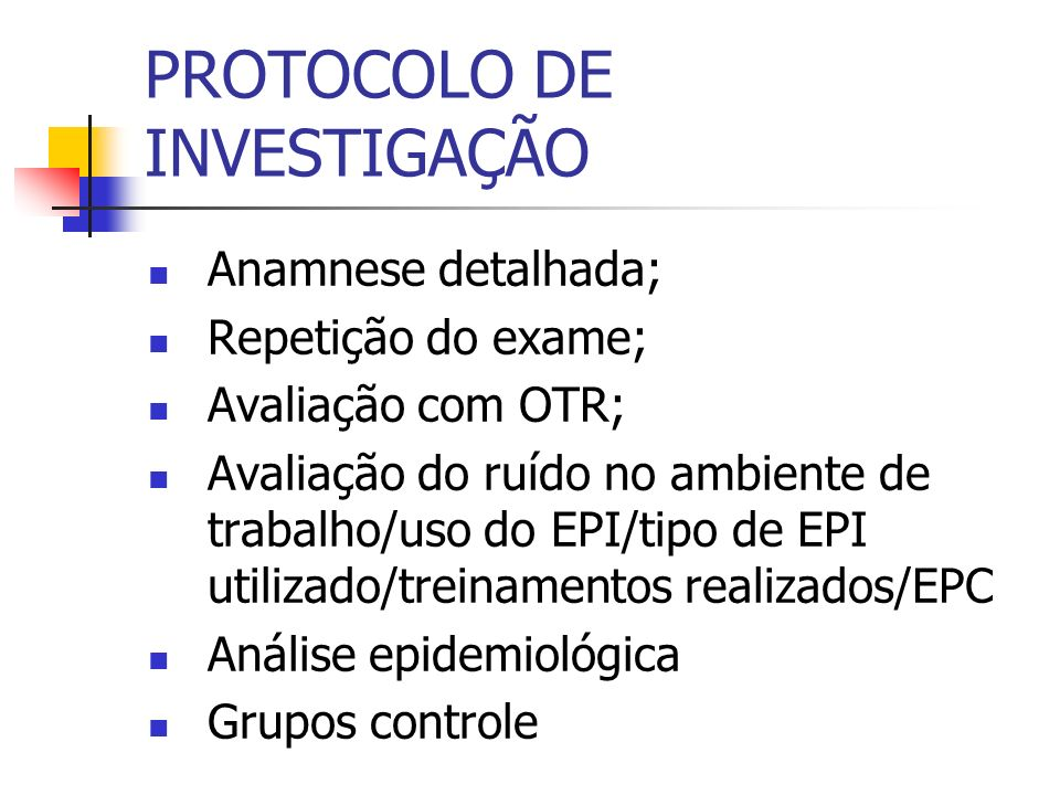PROTOCOLO DE INVESTIGAÇÃO