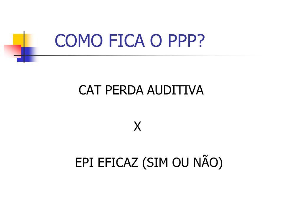 COMO FICA O PPP CAT PERDA AUDITIVA X EPI EFICAZ (SIM OU NÃO)