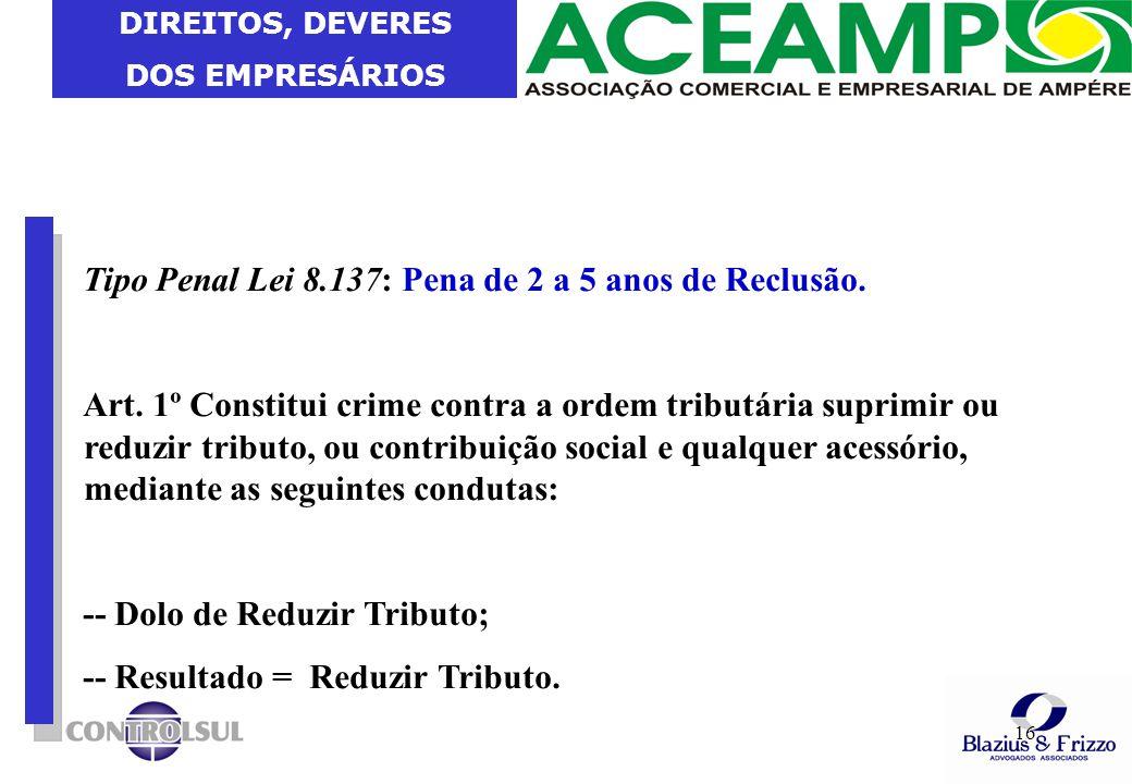 Tipo Penal Lei 8.137: Pena de 2 a 5 anos de Reclusão.