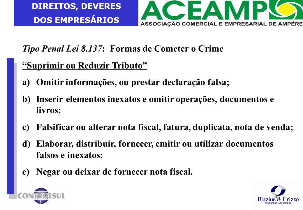 Tipo Penal Lei 8.137: Formas de Cometer o Crime