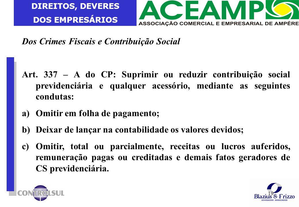Dos Crimes Fiscais e Contribuição Social