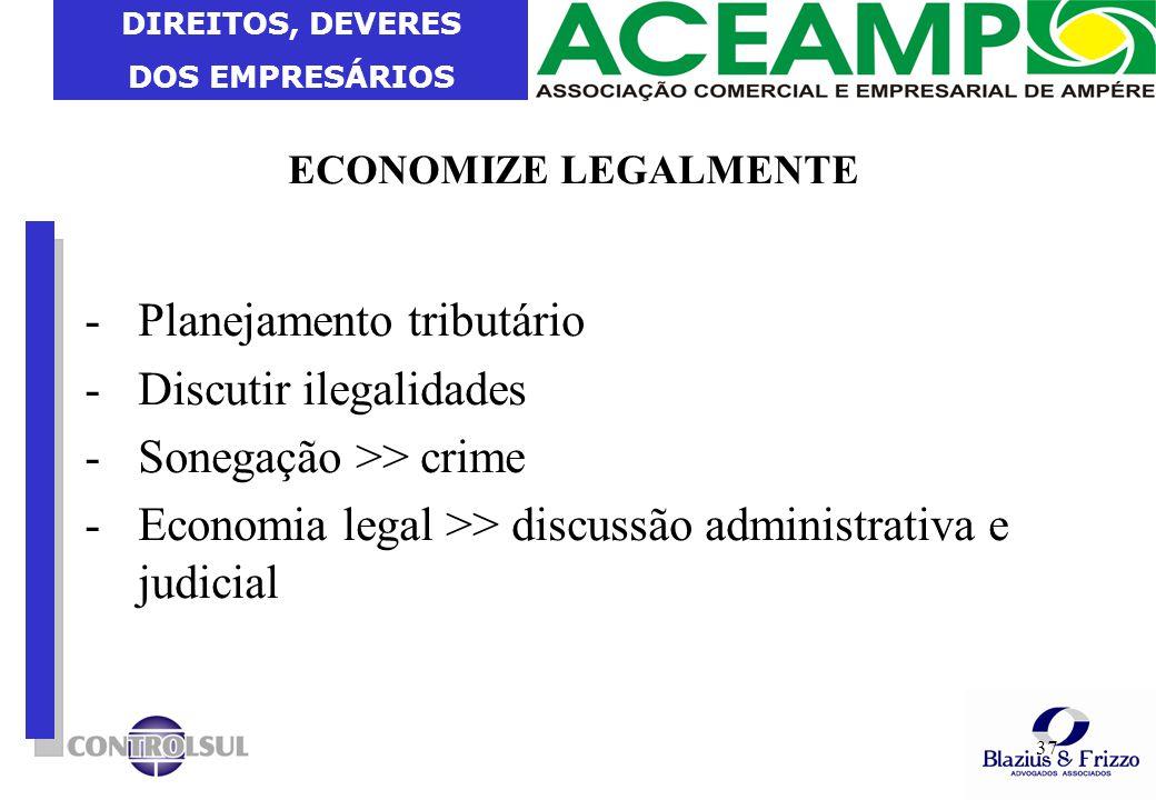 Planejamento tributário Discutir ilegalidades Sonegação >> crime