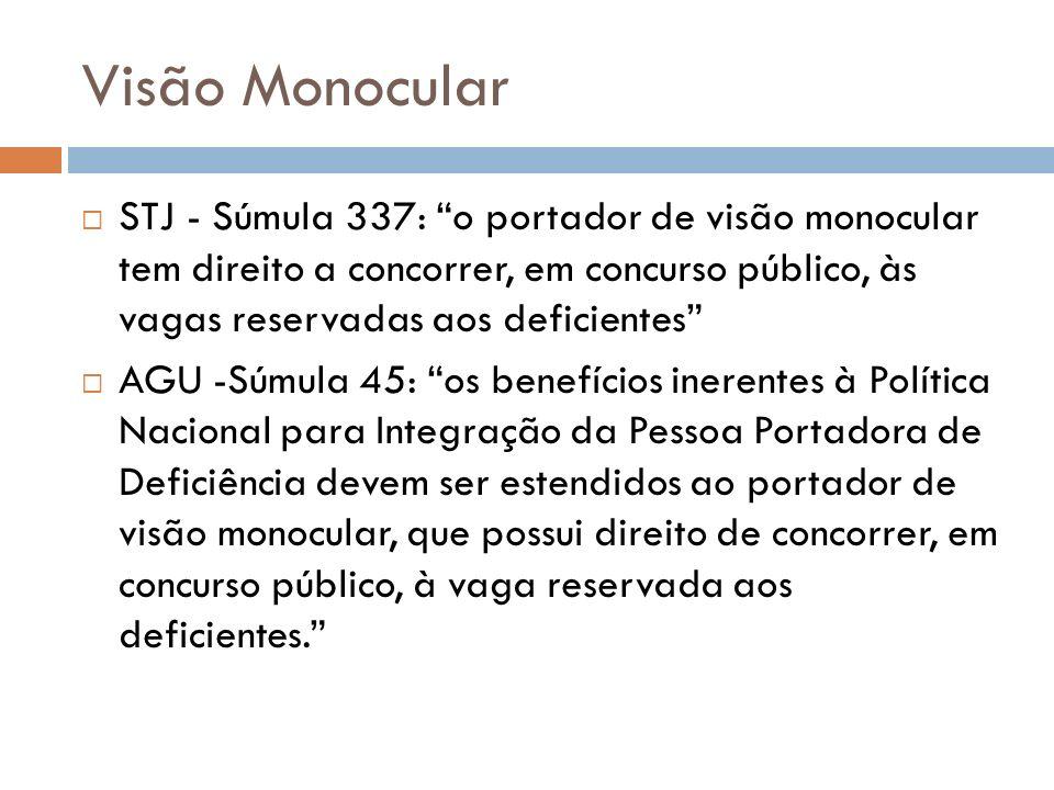 Visão Monocular STJ - Súmula 337: o portador de visão monocular tem direito a concorrer, em concurso público, às vagas reservadas aos deficientes