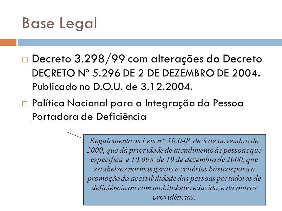 Base Legal Decreto 3.298/99 com alterações do Decreto DECRETO Nº 5.296 DE 2 DE DEZEMBRO DE 2004. Publicado no D.O.U. de 3.12.2004.