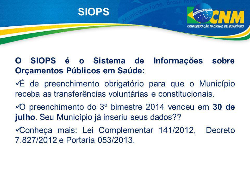 SIOPS O SIOPS é o Sistema de Informações sobre Orçamentos Públicos em Saúde: