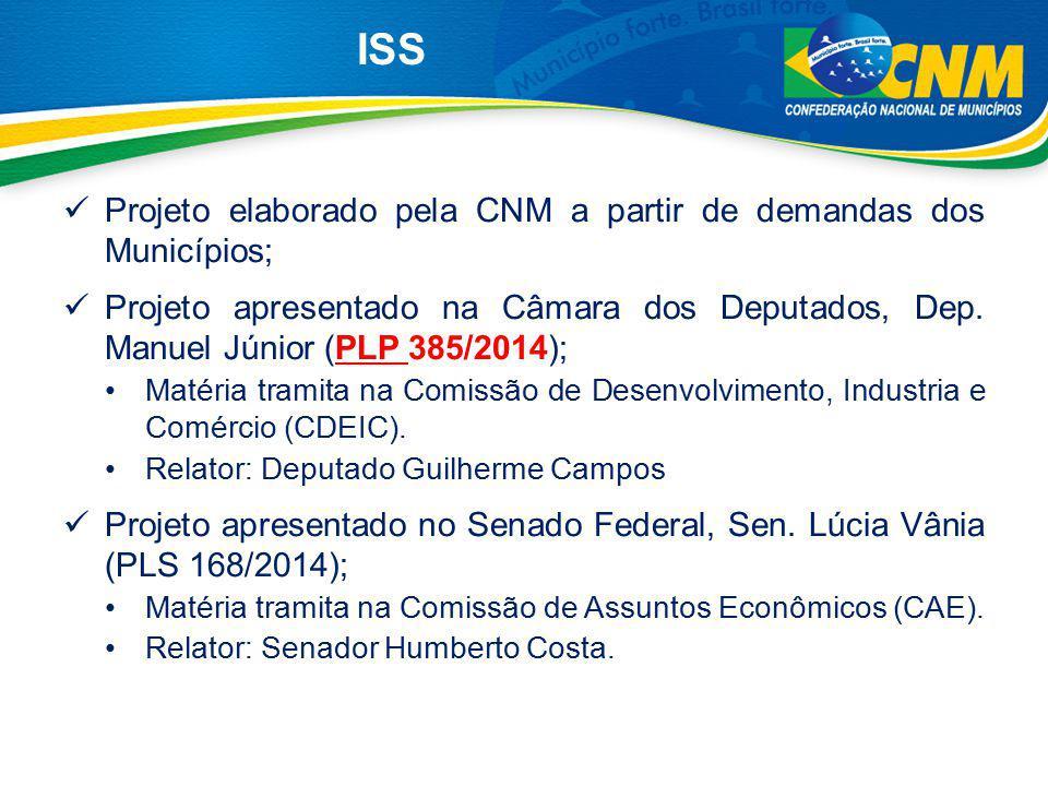 ISS Projeto elaborado pela CNM a partir de demandas dos Municípios;