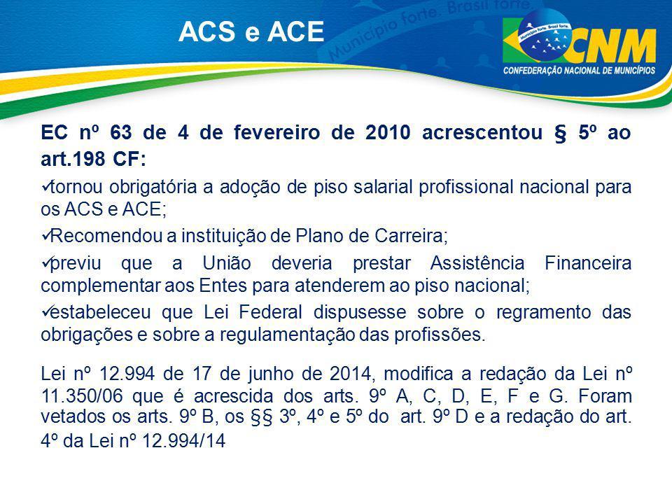 ACS e ACE EC nº 63 de 4 de fevereiro de 2010 acrescentou § 5º ao art.198 CF: