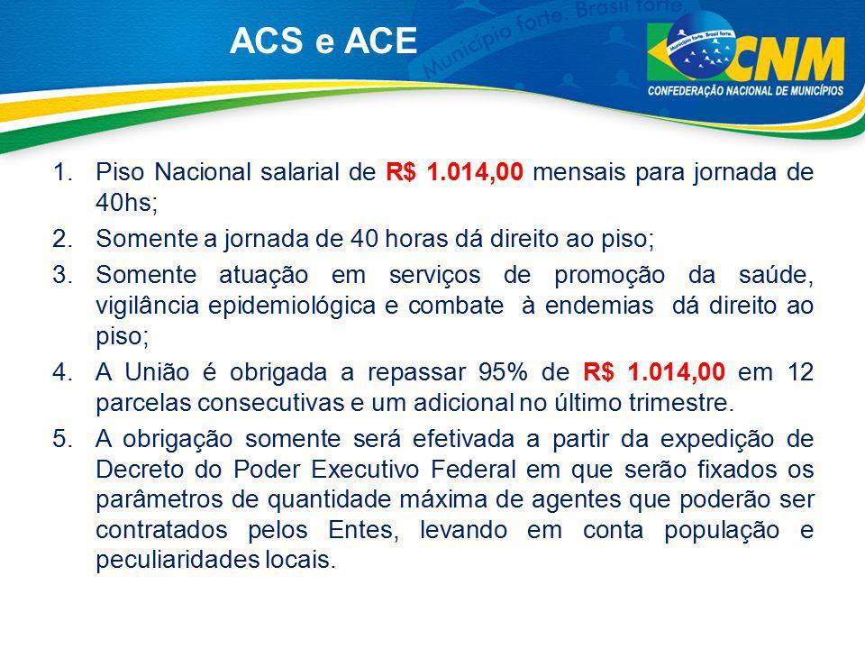 ACS e ACE Piso Nacional salarial de R$ 1.014,00 mensais para jornada de 40hs; Somente a jornada de 40 horas dá direito ao piso;