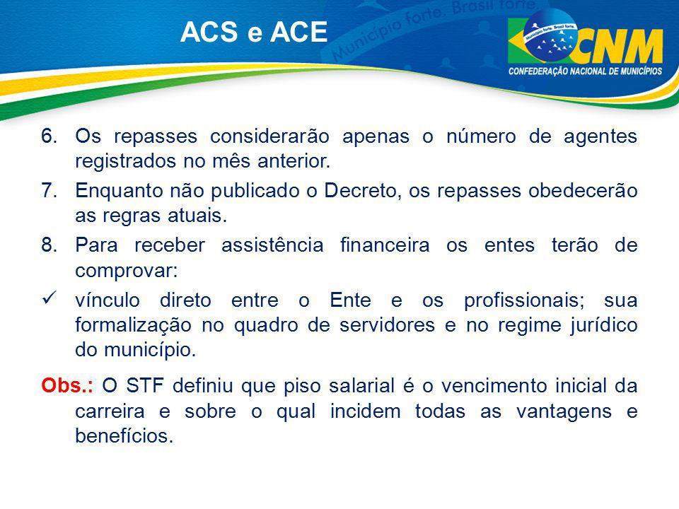 ACS e ACE Os repasses considerarão apenas o número de agentes registrados no mês anterior.