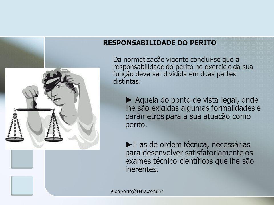RESPONSABILIDADE DO PERITO