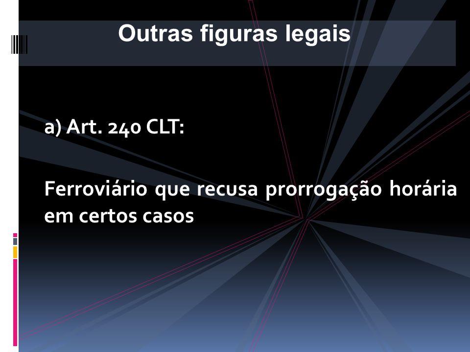 Outras figuras legais a) Art. 240 CLT:
