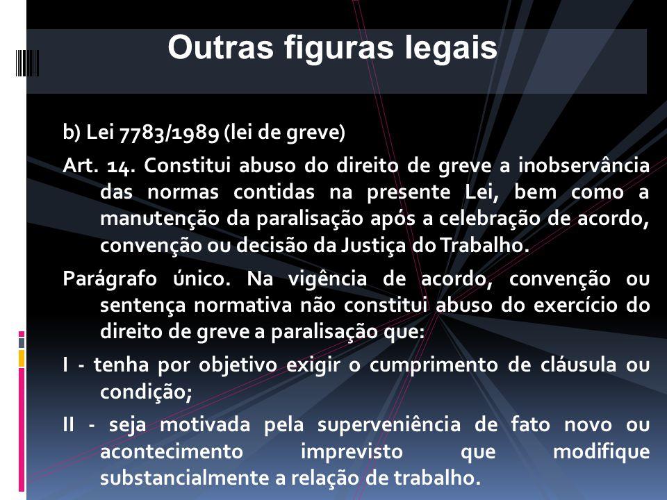 Outras figuras legais b) Lei 7783/1989 (lei de greve)
