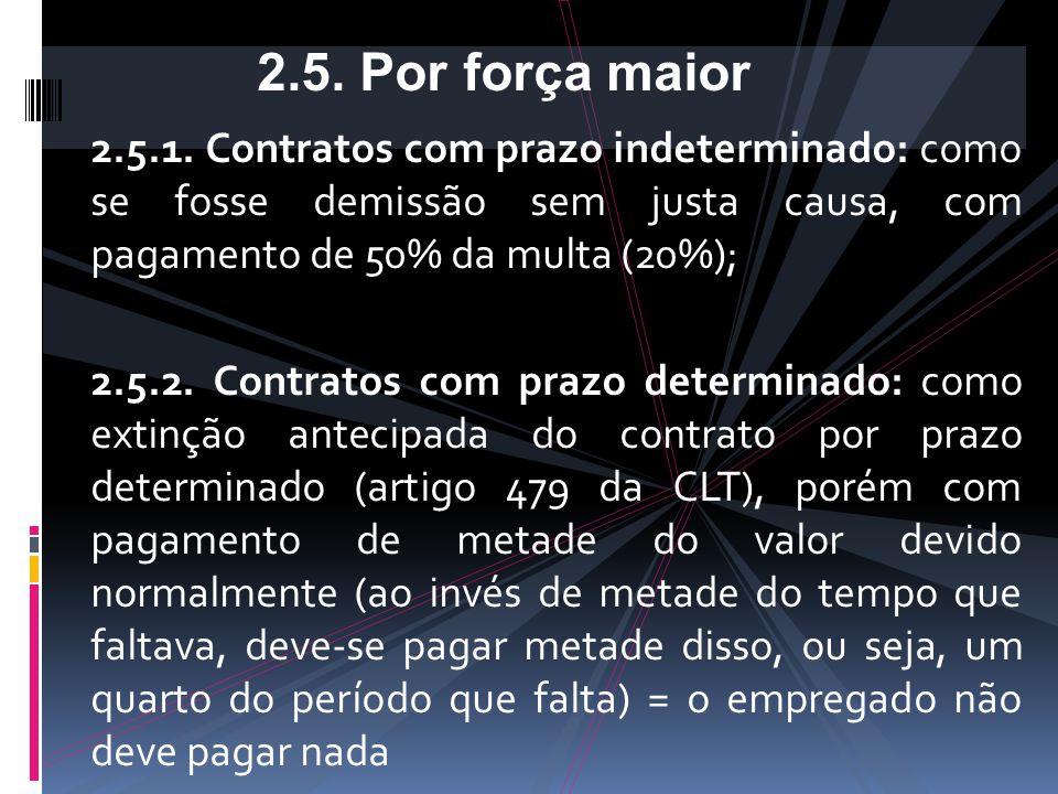 2.5. Por força maior 2.5.1. Contratos com prazo indeterminado: como se fosse demissão sem justa causa, com pagamento de 50% da multa (20%);