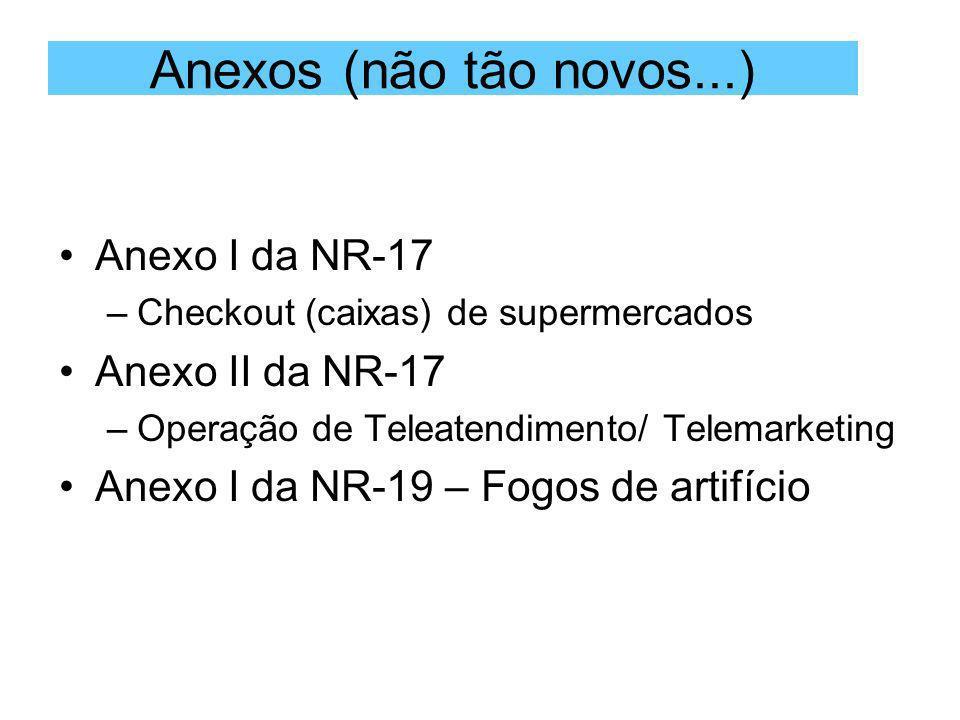 Anexos (não tão novos...) Anexo I da NR-17 Anexo II da NR-17