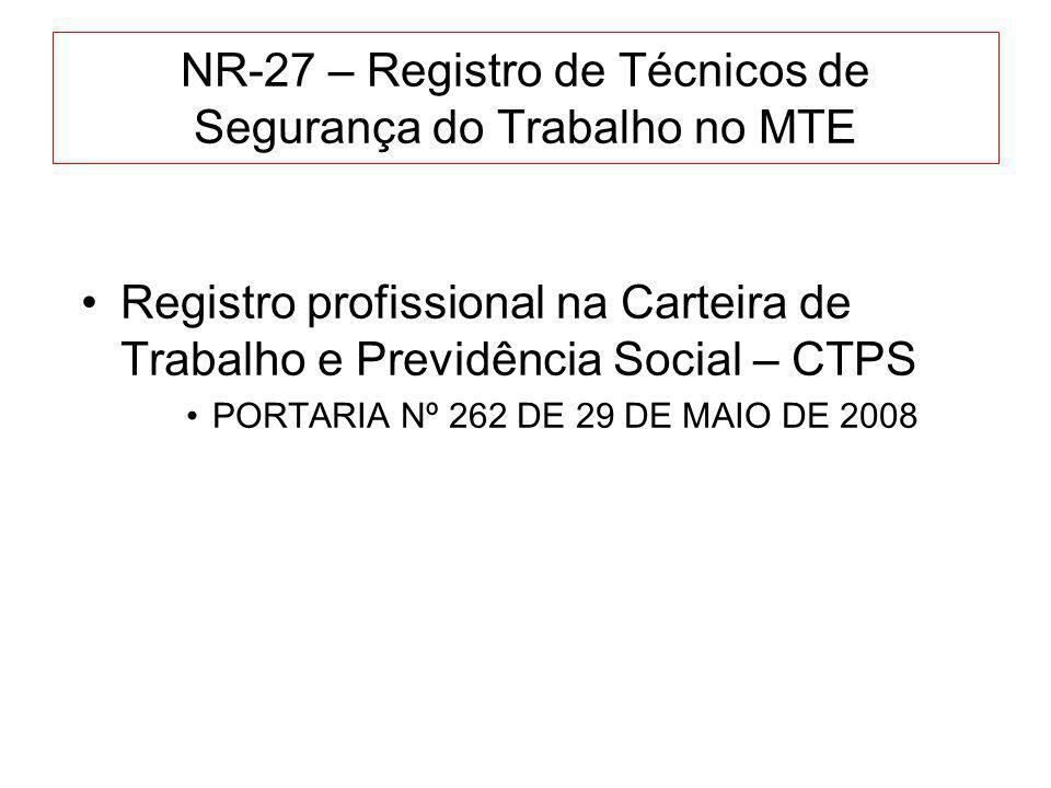 NR-27 – Registro de Técnicos de Segurança do Trabalho no MTE