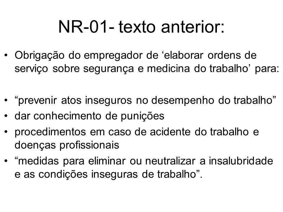 NR-01- texto anterior: Obrigação do empregador de 'elaborar ordens de serviço sobre segurança e medicina do trabalho' para: