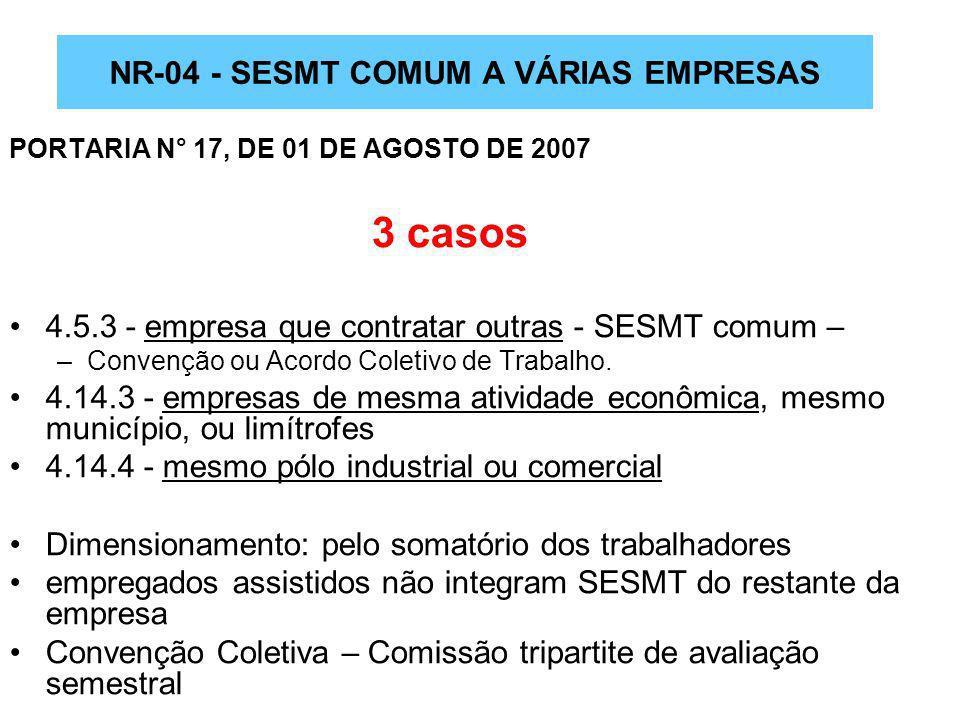 NR-04 - SESMT COMUM A VÁRIAS EMPRESAS