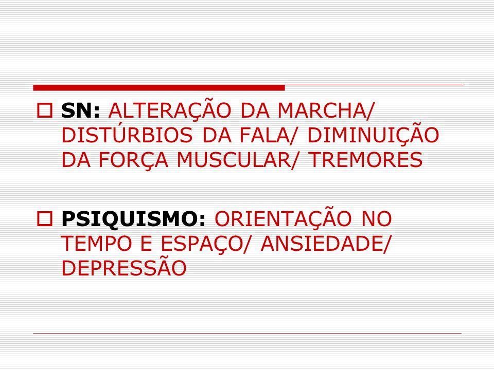 SN: ALTERAÇÃO DA MARCHA/ DISTÚRBIOS DA FALA/ DIMINUIÇÃO DA FORÇA MUSCULAR/ TREMORES