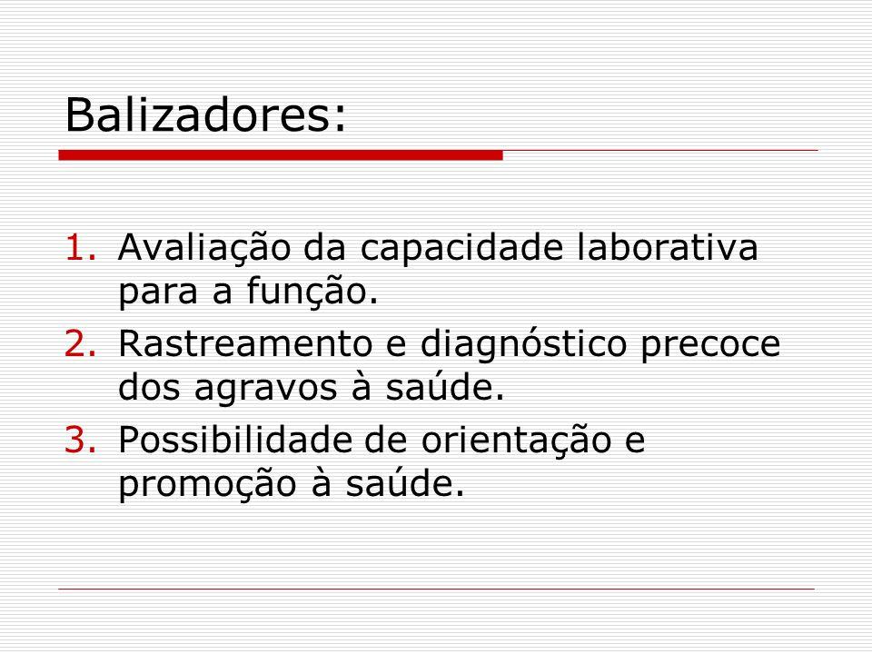 Balizadores: Avaliação da capacidade laborativa para a função.