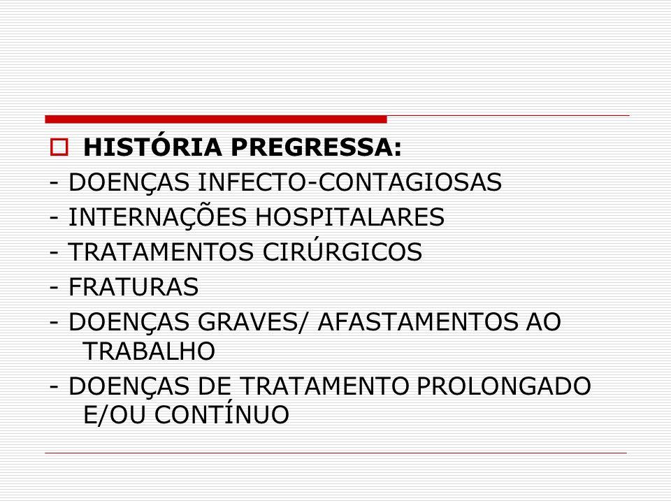 HISTÓRIA PREGRESSA: - DOENÇAS INFECTO-CONTAGIOSAS. - INTERNAÇÕES HOSPITALARES. - TRATAMENTOS CIRÚRGICOS.