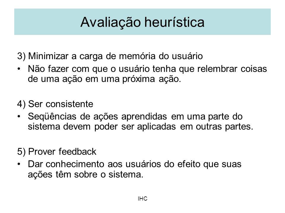 Avaliação heurística 3) Minimizar a carga de memória do usuário