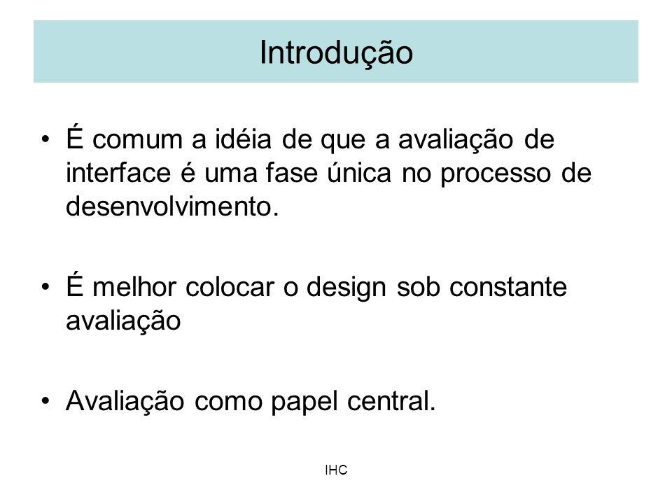 Introdução É comum a idéia de que a avaliação de interface é uma fase única no processo de desenvolvimento.