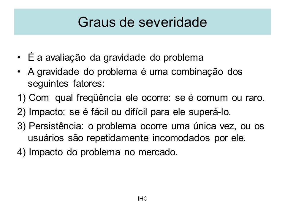Graus de severidade É a avaliação da gravidade do problema