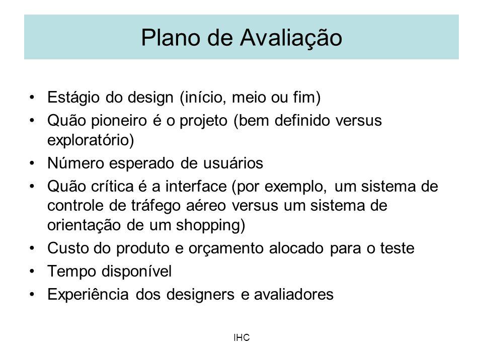 Plano de Avaliação Estágio do design (início, meio ou fim)