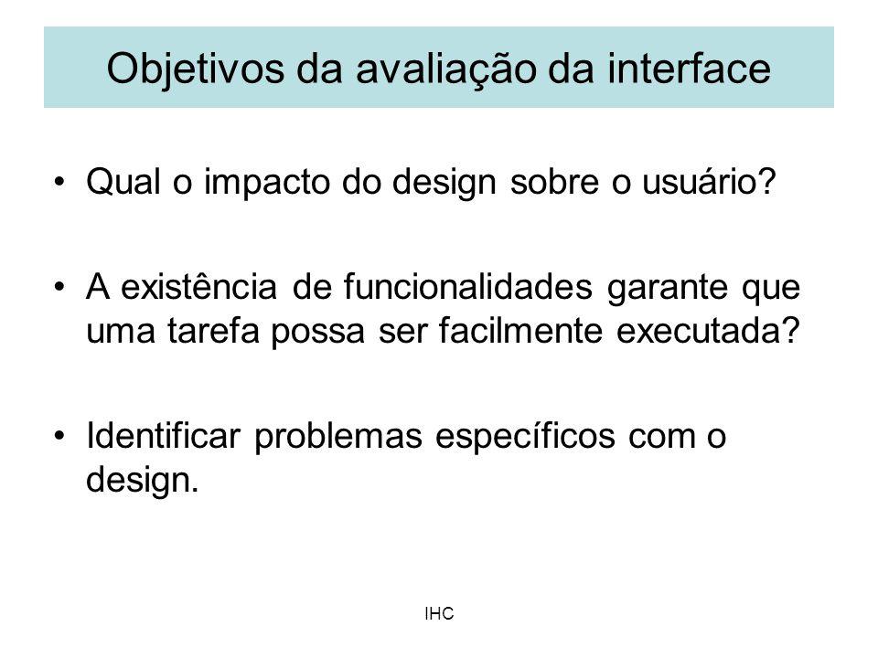 Objetivos da avaliação da interface