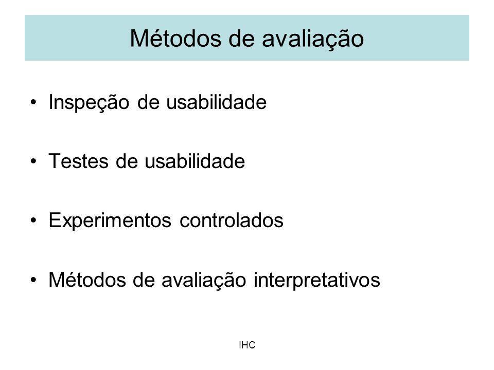Métodos de avaliação Inspeção de usabilidade Testes de usabilidade