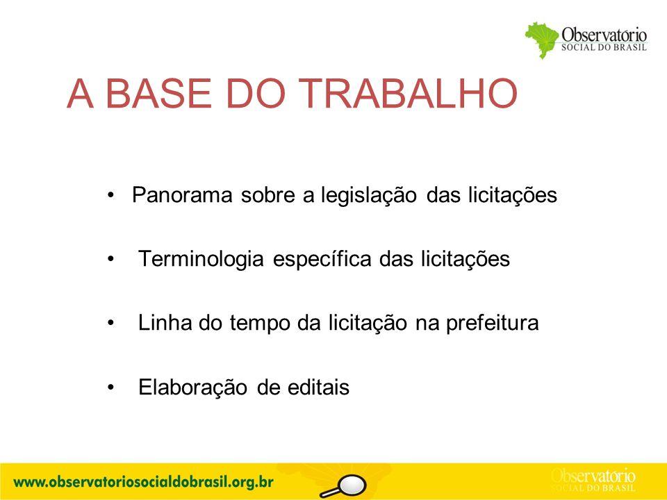 A BASE DO TRABALHO Panorama sobre a legislação das licitações