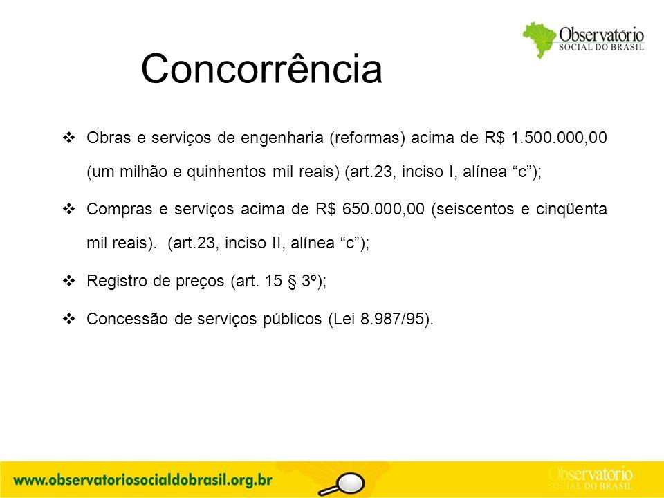 Concorrência Obras e serviços de engenharia (reformas) acima de R$ 1.500.000,00 (um milhão e quinhentos mil reais) (art.23, inciso I, alínea c );