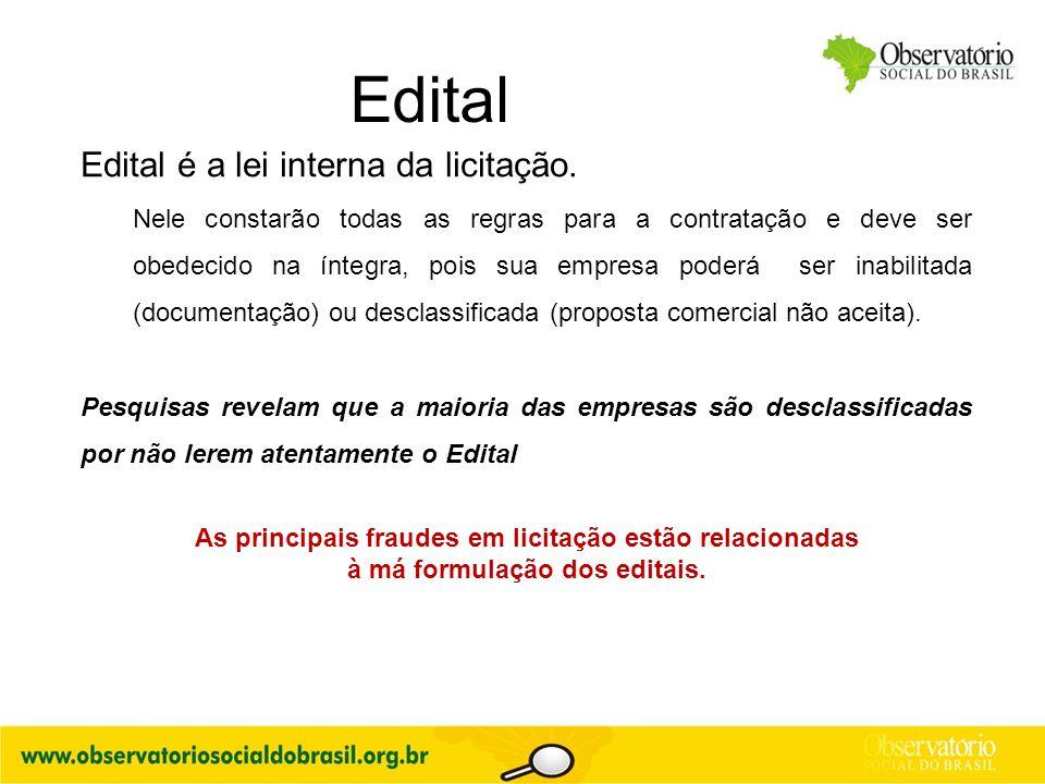 Edital Edital é a lei interna da licitação.