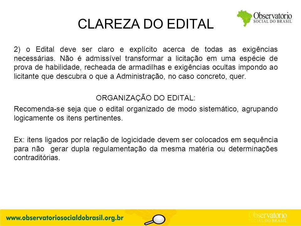 ORGANIZAÇÃO DO EDITAL: