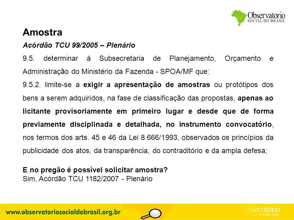 Amostra Acórdão TCU 99/2005 – Plenário