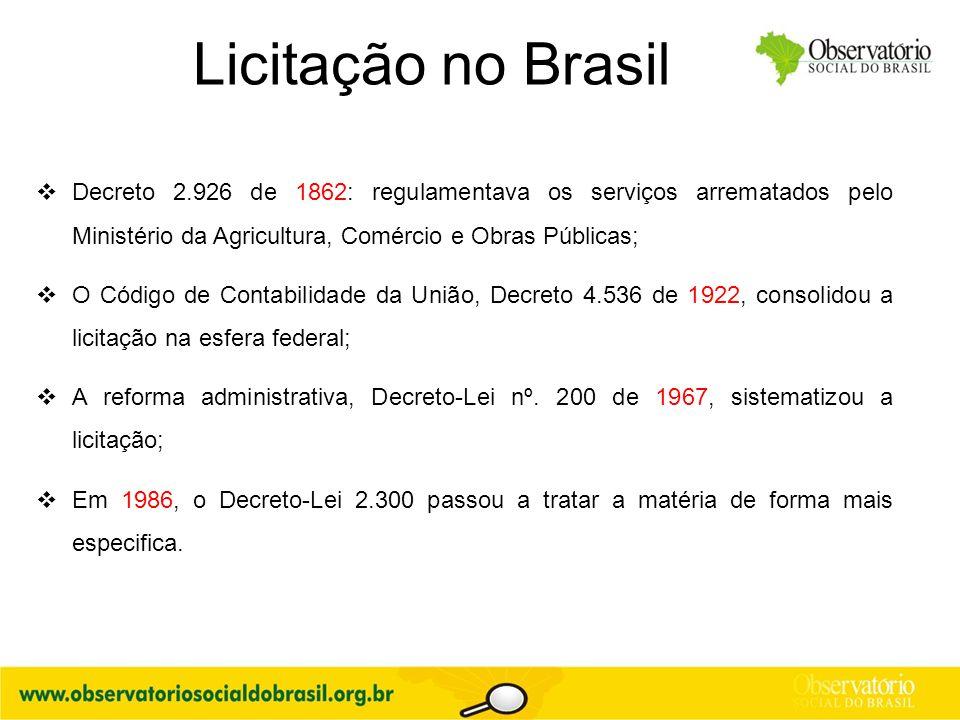 Licitação no Brasil Decreto 2.926 de 1862: regulamentava os serviços arrematados pelo Ministério da Agricultura, Comércio e Obras Públicas;