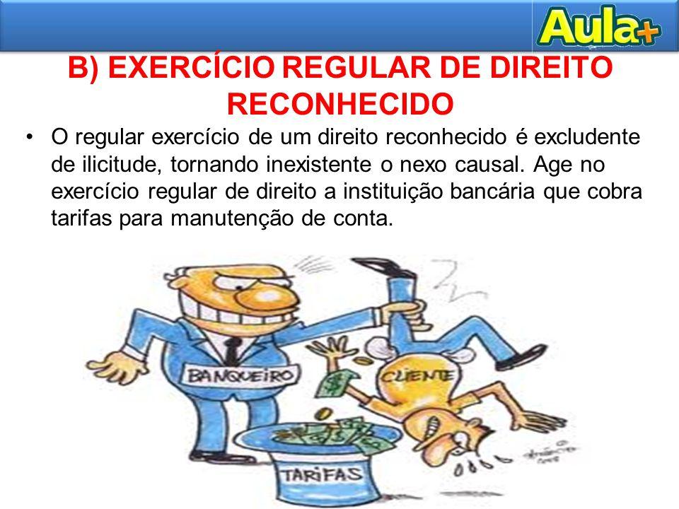 B) EXERCÍCIO REGULAR DE DIREITO RECONHECIDO